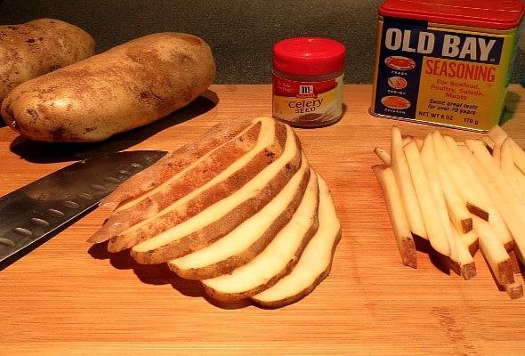 The ingredients for seasoned homemade fries