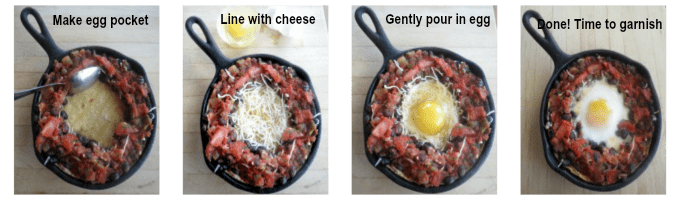 Adding the egg to the huevos rancheros